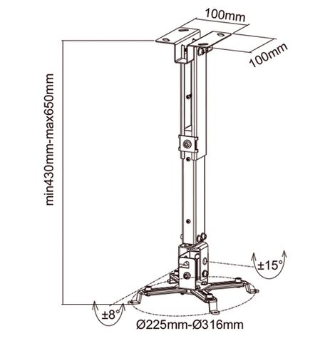 suporte-para-projetor-de-teto-mtp-2-preto-frente