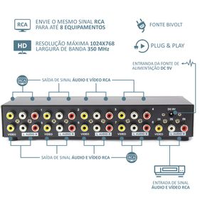 video-splitter-audio-e-video-rca-com-8-portas-mtv-318-frente