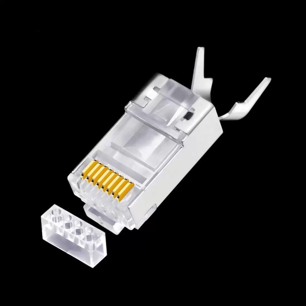 Conector Plug RJ45 Cat6A Blindado