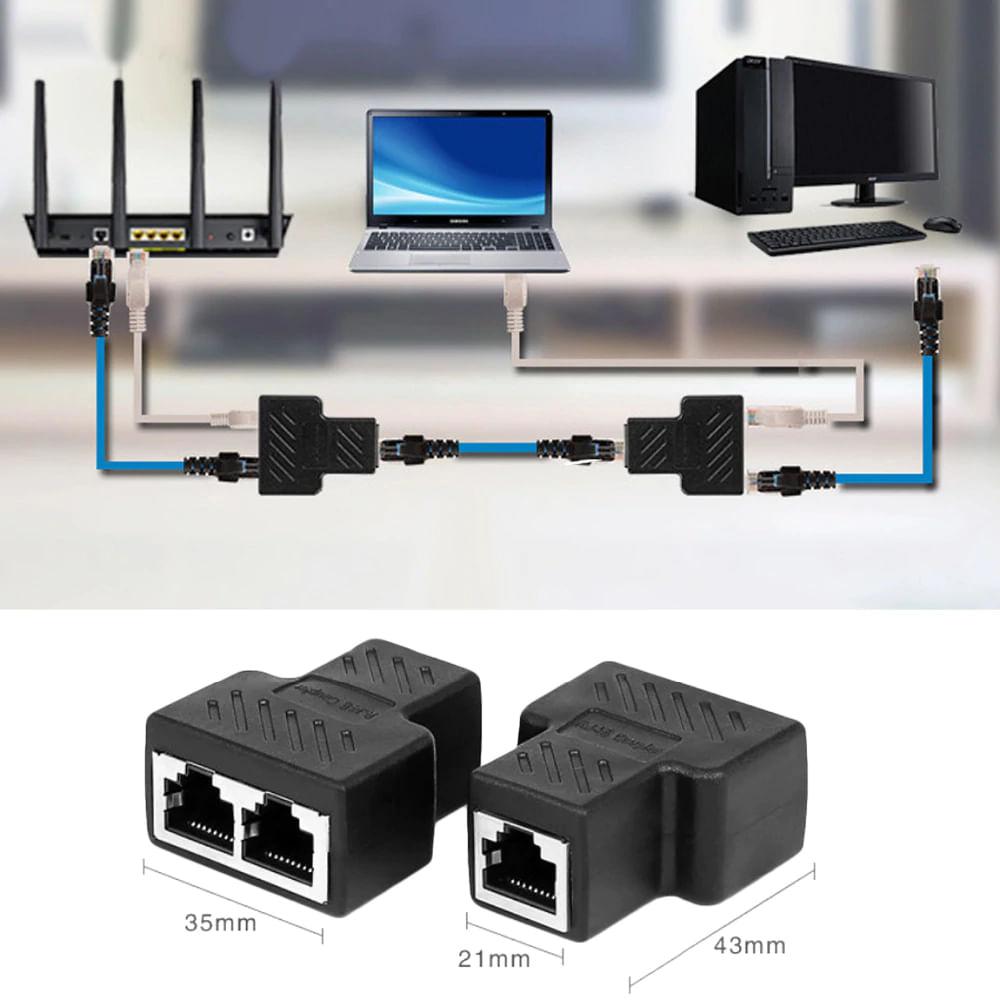 Adaptador e Duplicador de rede rj45, extensor de cabo de rede
