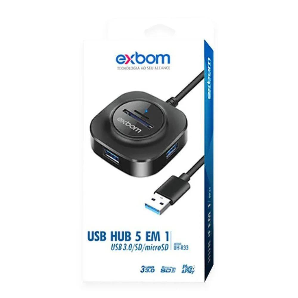 Hub USB 3.0 5 em 1 USB 3.0/SD/TF UH-R33
