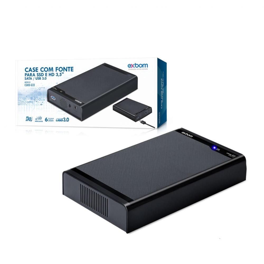 Case Para Hd 3.5 Externo Sata USB 3.0 Com Fonte