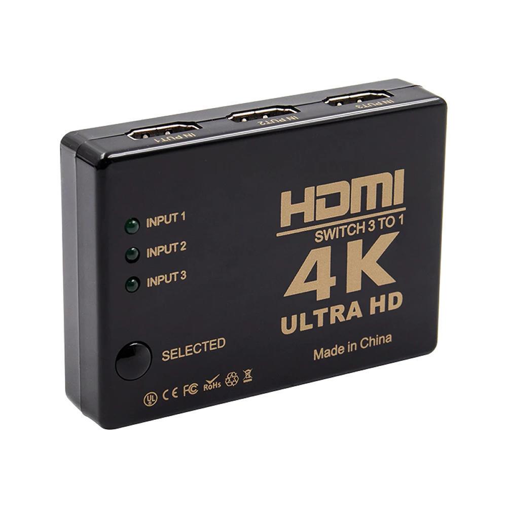Seletor Switch Hdmi 3x1 3 Entradas Para 1 Saída Com Controle - 5053