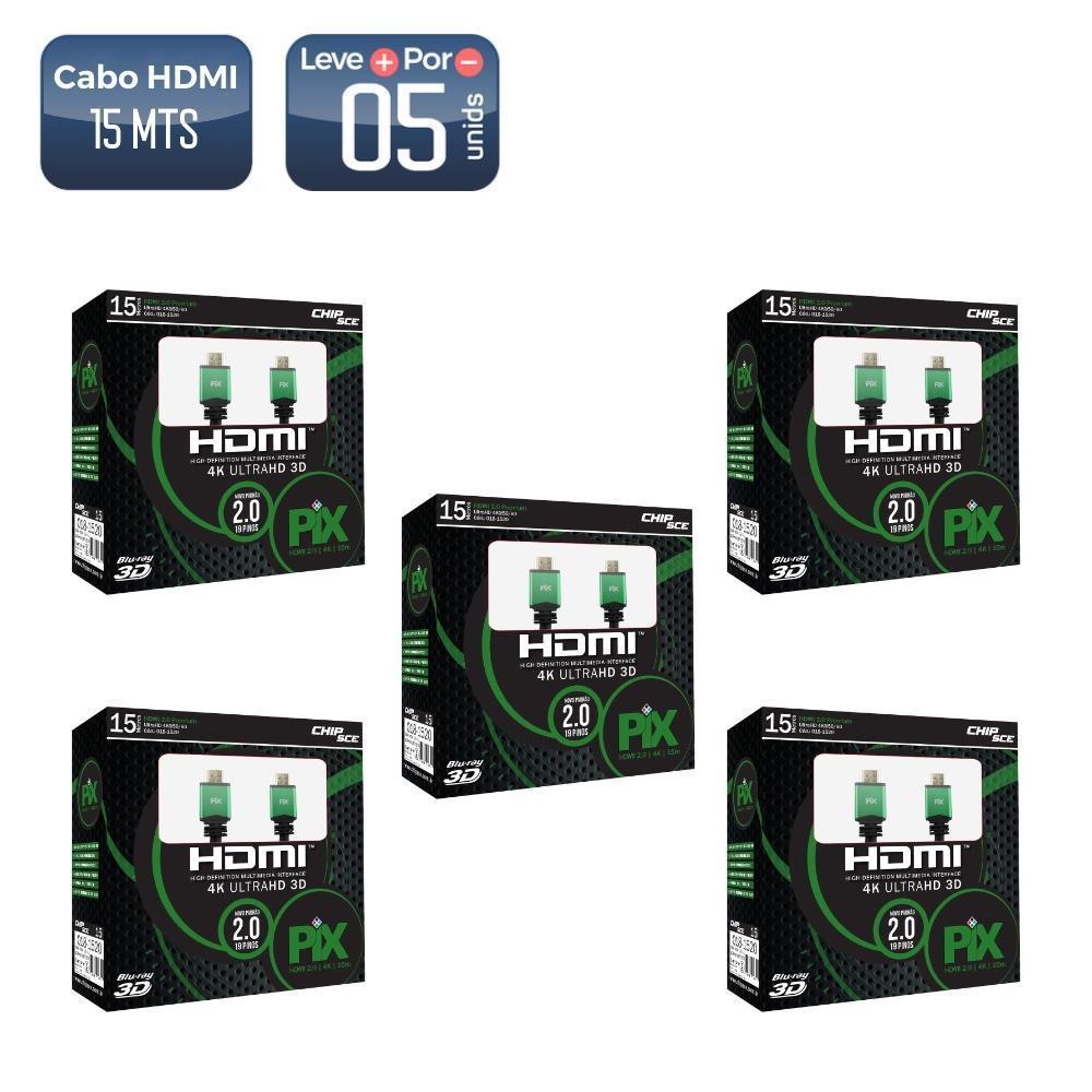 Cabo HDMI 2.0 Plus UltraHD 15 Metros 10 unidades  - 4547 _05 Cabo hdmi 15m 2.0 4k ultrahd 19 pinos c/filtro 018-1520 5 unidades
