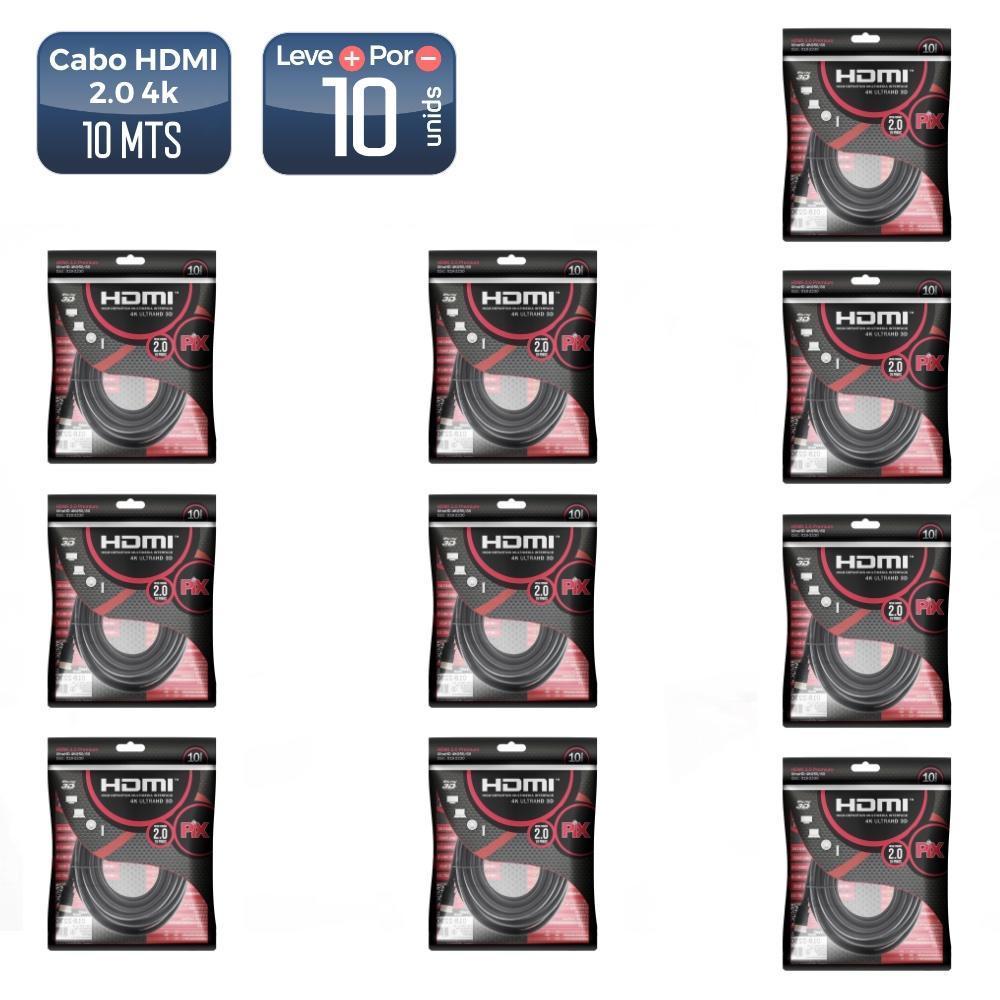 Cabo hdmi 2.0 19 pinos 4k 10m 018-2230 10 unidades  - 5245_10 Cabo hdmi 2.0 19 pinos 4k 10m 018-2230 10 unidades