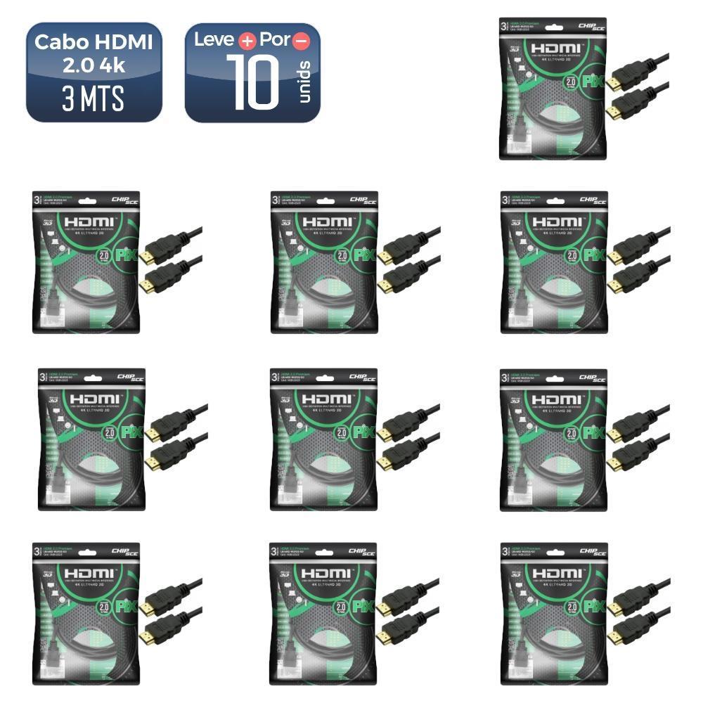 Cabo hdmi 2.0 19 pinos 4k 3m 018-2223 10 unidades - 5191_10 Cabo hdmi 2.0 19 pinos 4k 3m 018-2223 10 unidades