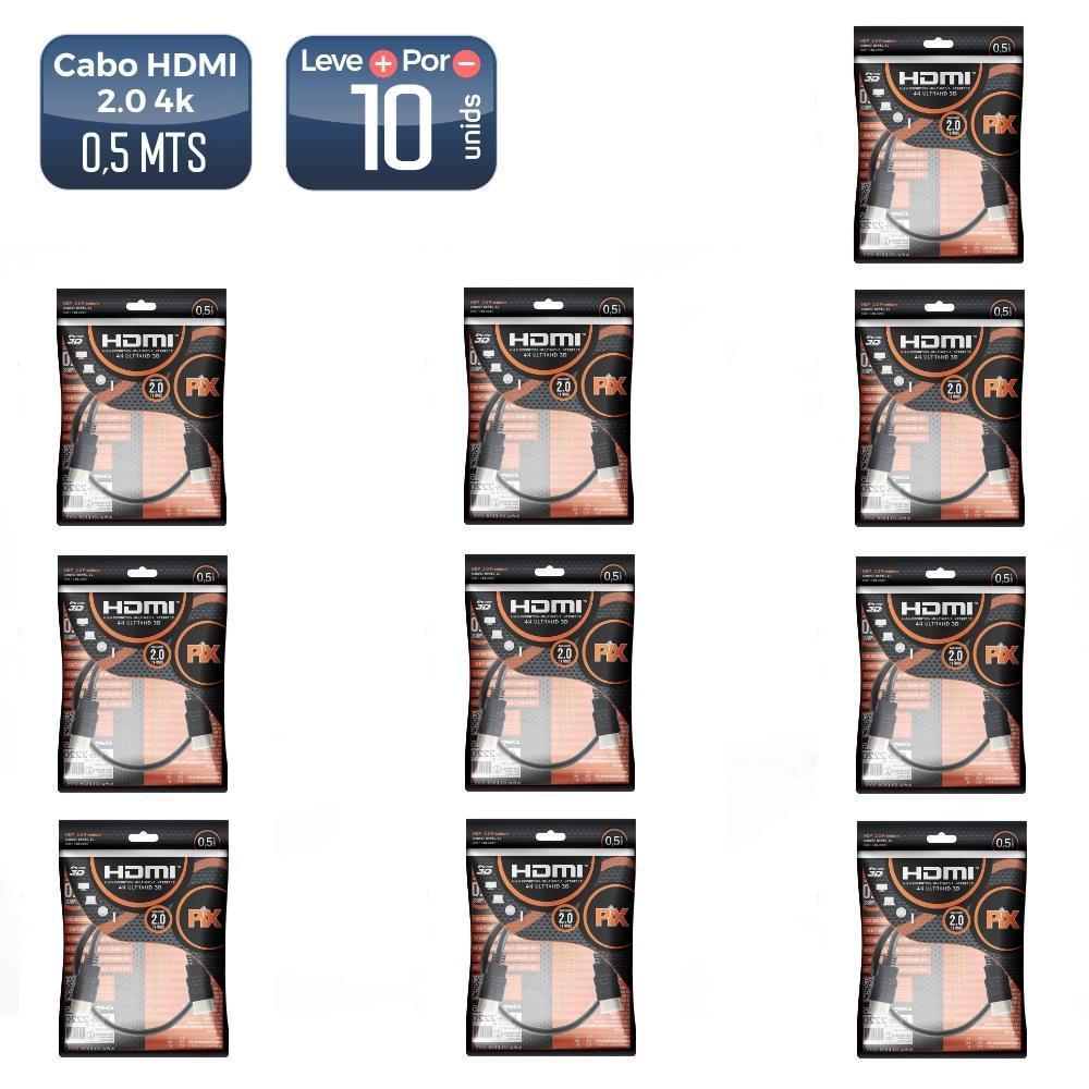 Cabo hdmi 2.0 19 pinos 4k 50cm 018-2220 10 unidades - 5217_10 Cabo hdmi 2.0 19 pinos 4k 50cm 018-2220 10 unidades
