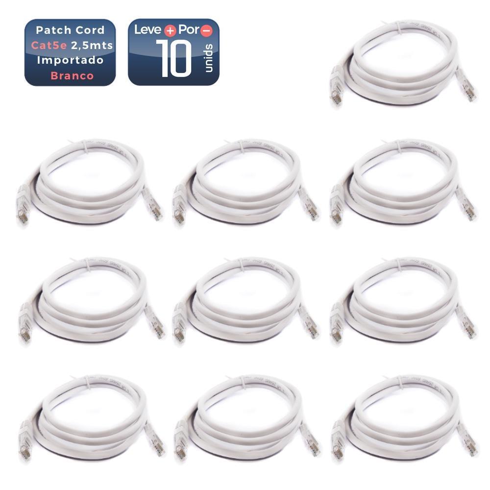 Patch cord cat5e 2,5mts branco 10 unidades - 1443_10 Patch cord cat5e 2,5mts branco 10 unidades