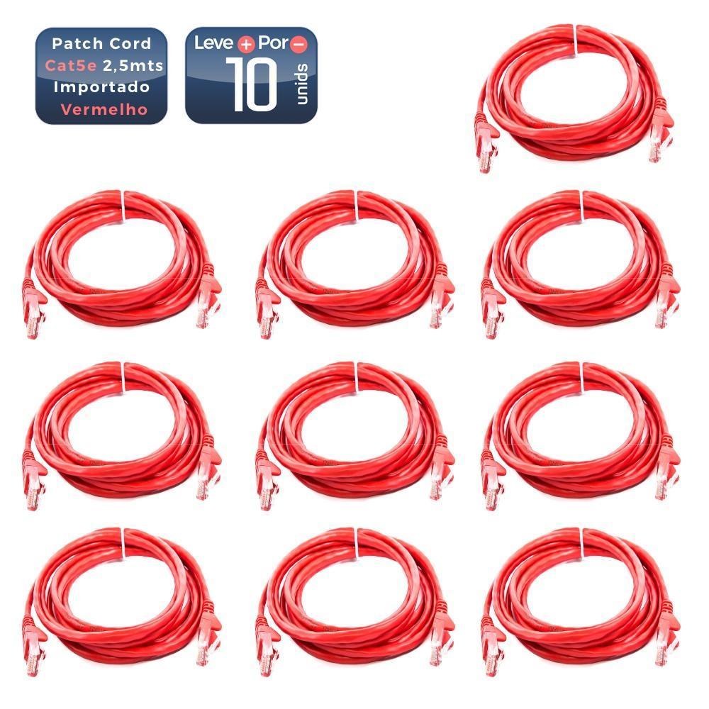 Patch cord cat5e 2,5mts vermelho 10 unidades - 1448_10 Patch cord cat5e 2,5mts vermelho 10 unidades