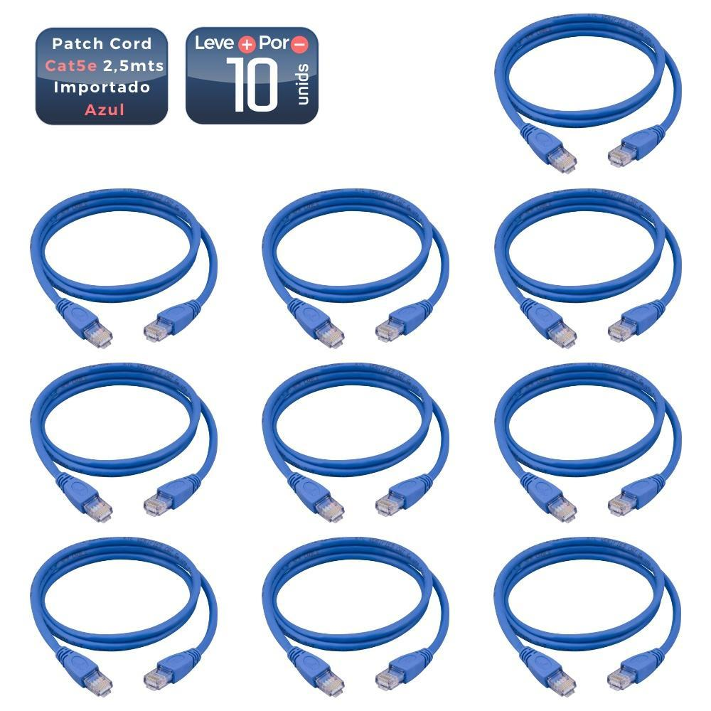 Patch cord cat5e azul 2,50 metros 10 unidades - 1381_10 Patch cord cat5e azul 2,50 metros 10 unidades