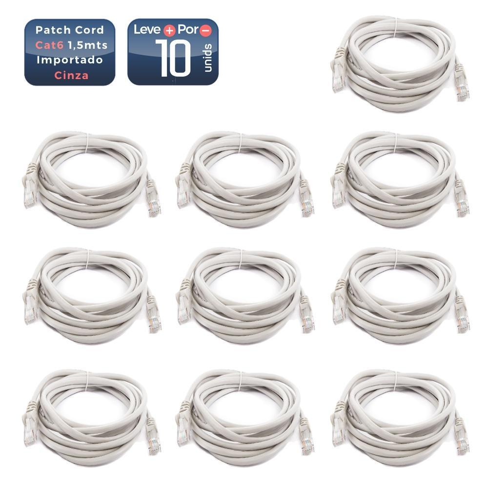 Patch cord cat6 1,5mts cinza 10 unidades - 3406_10 Patch cord cat6 1,5mts cinza 10 unidades
