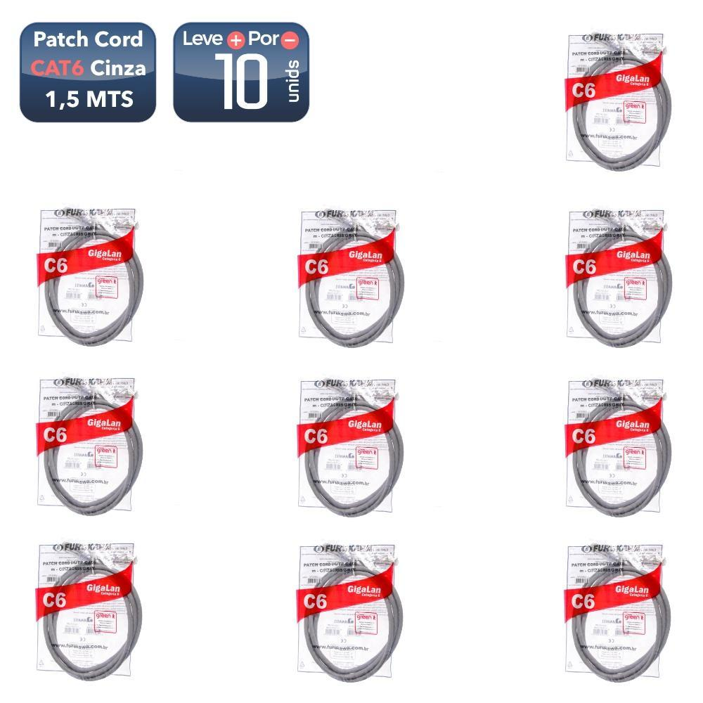 Patch cord cat6 1,5mts cinza (35123242) 10 unidades - 1207_10 Patch cord cat6 1,5mts cinza (35123242) 10 unidades