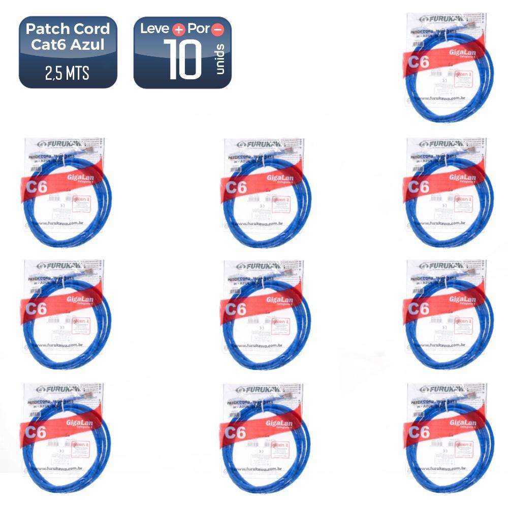 Patch cord cat6 2,5mts azul (35123604) 10 unidades - 1455_10 Patch cord cat6 2,5mts azul (35123604) 10 unidades