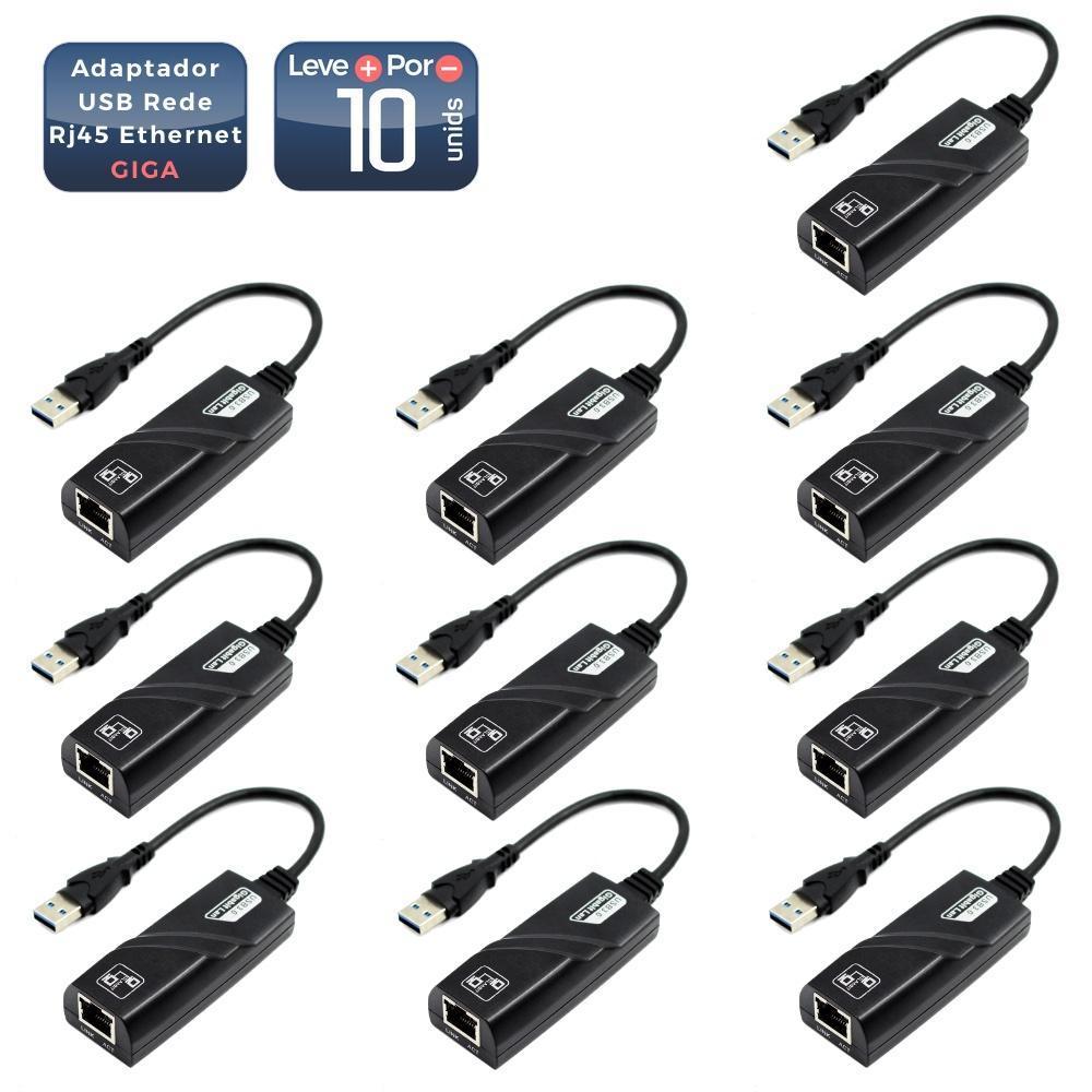 Adaptador Usb 3.0 Para Rede Rj45 Gigabit 10 Unidades - 6238-10
